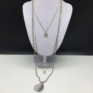 Ann Taylor Loft Beaded Layered Pendant Necklace